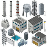 Isometric industrial buildings and other objects Stock Images