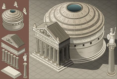 Isometric Pantheon Temple in Roman Architecture Stock Image