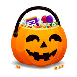 Jack O Lantern Full Of Candy Stock Photos