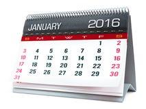 January 2016 desktop calendar Stock Photos