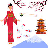 Japan set from isolated elements of national Japanese culture Royalty Free Stock Images