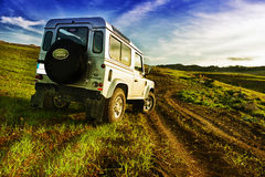 Jeep defender in the country Royalty Free Stock Photography