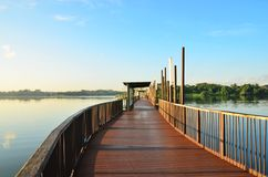 Jetty at Lower Seletar Reservoir Singapore Stock Images