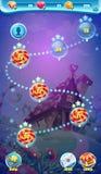Jeux visuels de Web du monde de GUI d'écran mobile doux de carte Images libres de droits