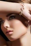 Jewelry accessories. Model with diamond bracelet Royalty Free Stock Photos