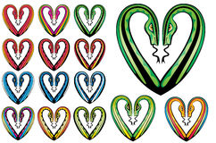 Joined snake bodies into romantic heart shape background Royalty Free Stock Images