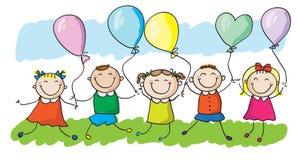 Jonge geitjes met ballons Stock Foto