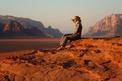 Jordan: Tourist in Wadi Rum Royalty Free Stock Image