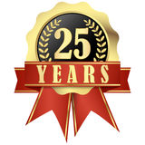 Jubilee button with banner and ribbons for 25 years Royalty Free Stock Photography