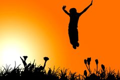 Jumping girl clipart Royalty Free Stock Photography