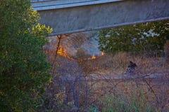 Kalifornien-Fahrradweg des verheerenden Feuers Stockfoto