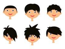 Karikaturjungenkopf, Gesichtsikonensatz, Symbol, Design Lizenzfreies Stockbild