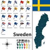 Karte von Schweden Stockfotos