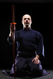 Kendo fighter with Bokken Stock Images