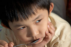 Kid lost appetite Royalty Free Stock Photos