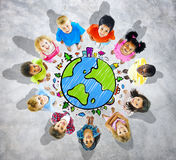Kids is Circle with Global Map Stock Image