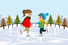 Kids Ice skating in nature Royalty Free Stock Photo