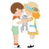 Kids and Kitten Stock Image