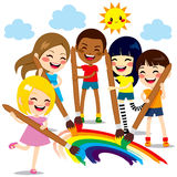 Kids Painting Rainbow Stock Photography