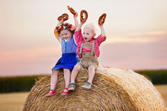 Kids playing in wheat field in Germany Royalty Free Stock Image