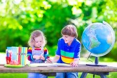 Kids in school yard Royalty Free Stock Photo