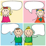 Kids with speech bubbles Royalty Free Stock Photos