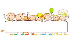 Kids standing behind Banner Royalty Free Stock Image