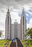 Kirche Akureyrarkirkja ist berühmte lutherische Kirche in Akureyri, nein Lizenzfreies Stockbild