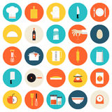 Kitchen cooking tools and utensils flat icons Stock Images