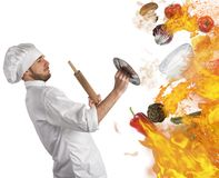 Kitchen in flames Stock Images