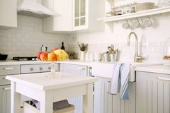 Kitchen with fruits Stock Photos