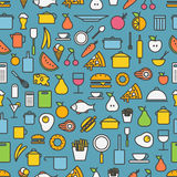 Kitchen tools and meal silhouette icons Royalty Free Stock Images