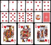 Klassieke Speelkaarten - Harten Stock Afbeeldingen