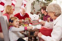 Kleindochter met Grootmoeder die Kerstmis van Maaltijd genieten Stock Afbeelding