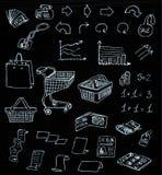 Klotter för shopping för affärsmarknad i svart tavla Royaltyfri Foto