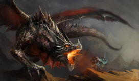 Knight fighting dragon Royalty Free Stock Images