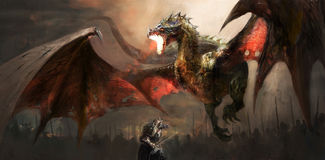 Knight fighting dragon Stock Image