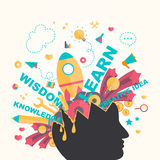 Knowledge and creativity icons flow from a man head in infograph Royalty Free Stock Image