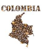 Kolumbien-Wort und Landkarte formten mit Kaffeebohnehintergrund Lizenzfreies Stockbild