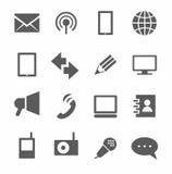 Kommunikation, Ikonen, einfarbig Stockbilder
