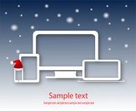 Komputerowa przyrząd sprzedaż z nowego roku tłem Fotografia Stock