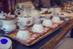 Korean tea ceremony table, vintage toning Stock Photography