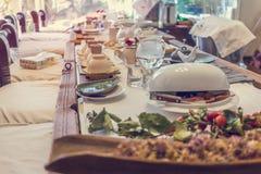 Korean tea ceremony table, vintage toning Stock Image