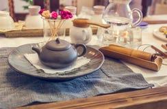 Korean tea ceremony table, vintage toning Stock Photo