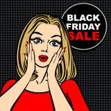 La bolla ed il Pop art neri di vendita di venerdì hanno stupito la ragazza sveglia Fotografia Stock Libera da Diritti