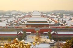 La Città proibita in neve, Pechino Immagine Stock Libera da Diritti
