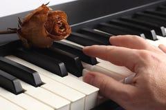 La main jouant le piano se trouvant là-dessus avec sec a monté Photographie stock