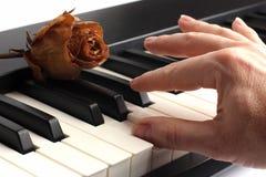 La main jouant le piano se trouvant là-dessus avec sec a monté Images libres de droits