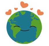 La terre heureuse dans l'illustration d'amour Image stock