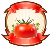 Label for a product (ketchup, sauce) with  illustr Royalty Free Stock Photography